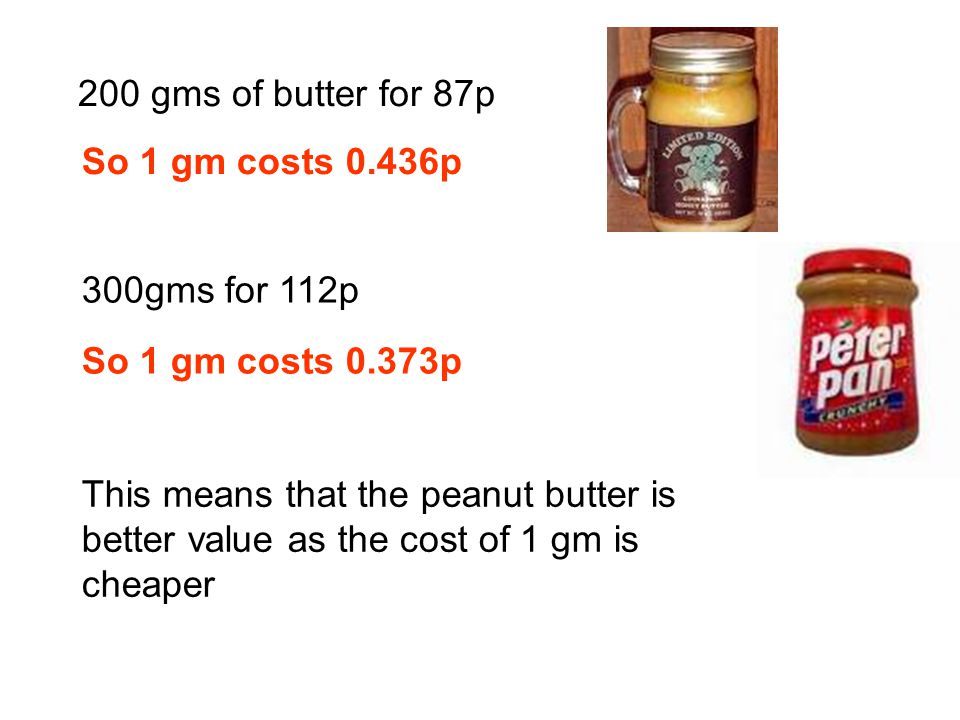 200 gms of butter for 87p So 1 gm costs 0.373p So 1 gm costs 0.436p 300gms for 112p This means that the peanut butter is better value as the cost of 1