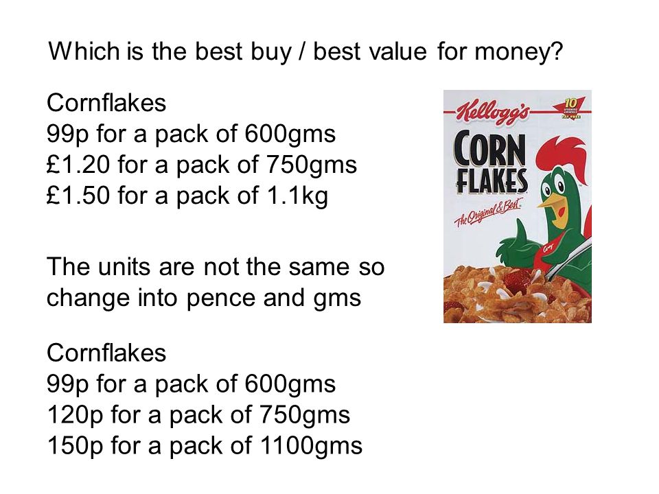 Which is the best buy / best value for money? Cornflakes 99p for a pack of 600gms £1.20 for a pack of 750gms £1.50 for a pack of 1.1kg The units are n