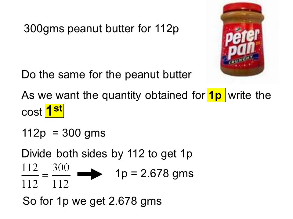 300gms peanut butter for 112p Do the same for the peanut butter As we want the quantity obtained for 1p write the cost 1 st 112p = 300 gms Divide both sides by 112 to get 1p 1p = 2.678 gms So for 1p we get 2.678 gms