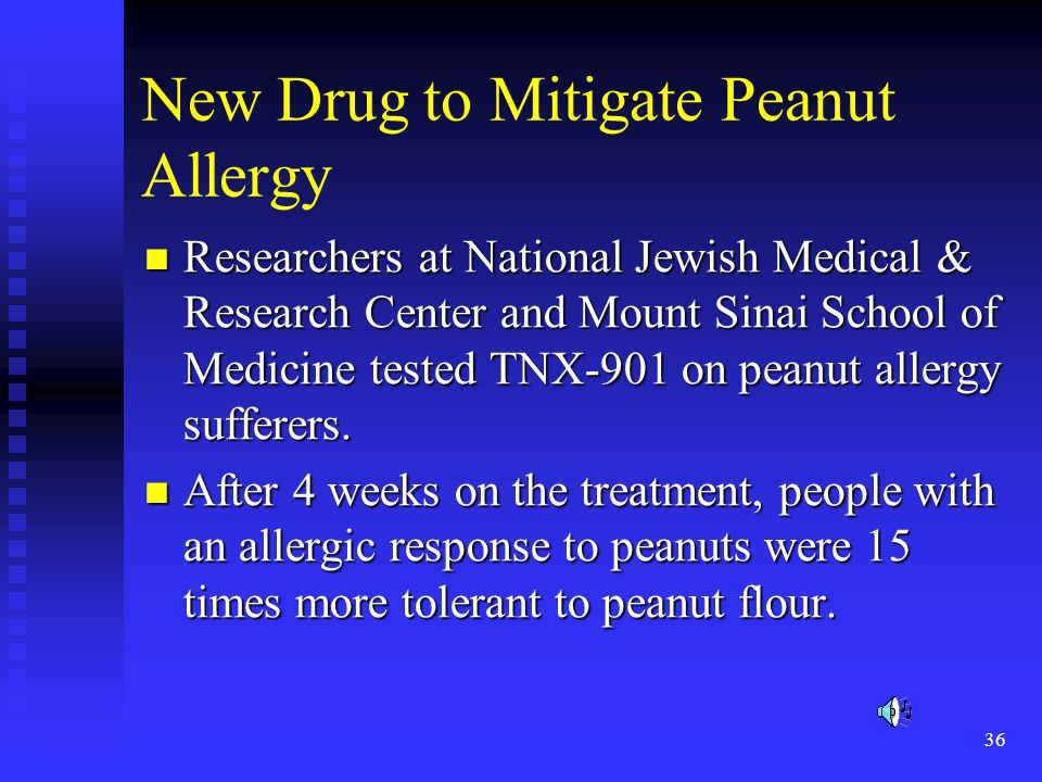 36 New Drug to Mitigate Peanut Allergy Researchers at National Jewish Medical & Research Center and Mount Sinai School of Medicine tested TNX-901 on peanut allergy sufferers.