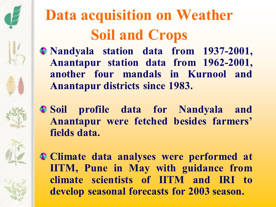 Data acquisition on Weather Soil and Crops Nandyala station data from 1937-2001, Anantapur station data from 1962-2001, another four mandals in Kurnoo
