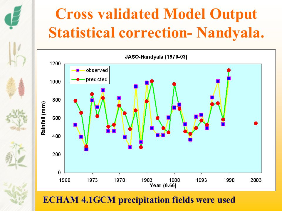 Cross validated Model Output Statistical correction-Anantapur ECHAM 4.1GCM precipitation fields were used