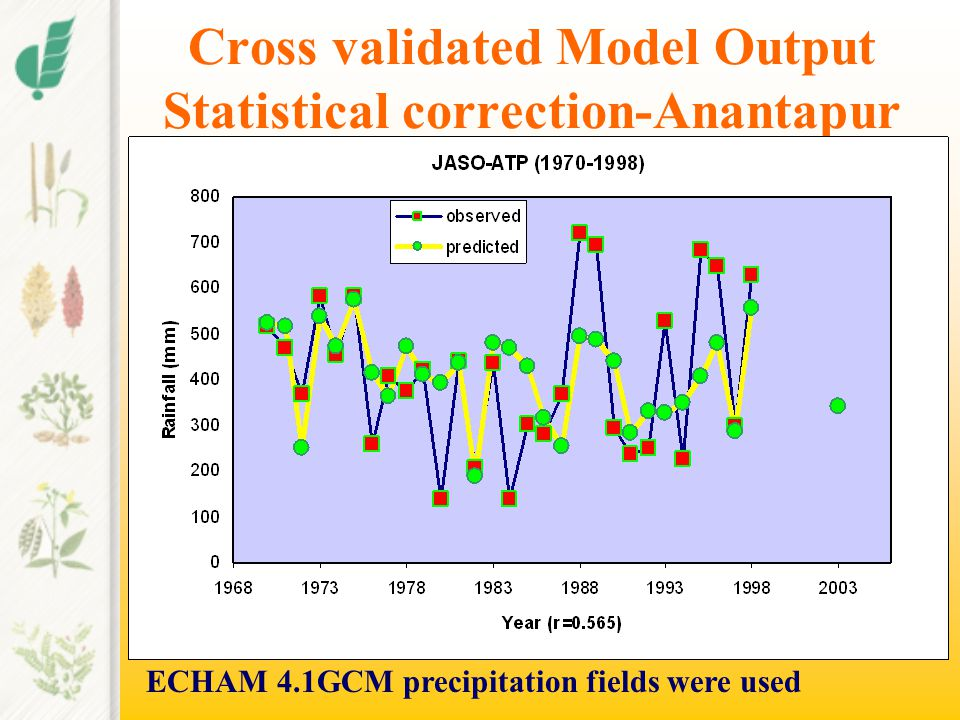 Cross validated Model Output Statistical correction-Anantapur ECHAM 4.1GCM precipitation fields were used