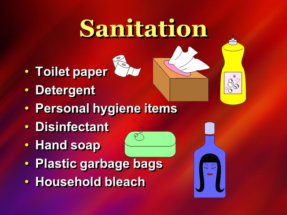 Sanitation Toilet paper Detergent Personal hygiene items Disinfectant Hand soap Plastic garbage bags Household bleach Toilet paper Detergent Personal hygiene items Disinfectant Hand soap Plastic garbage bags Household bleach