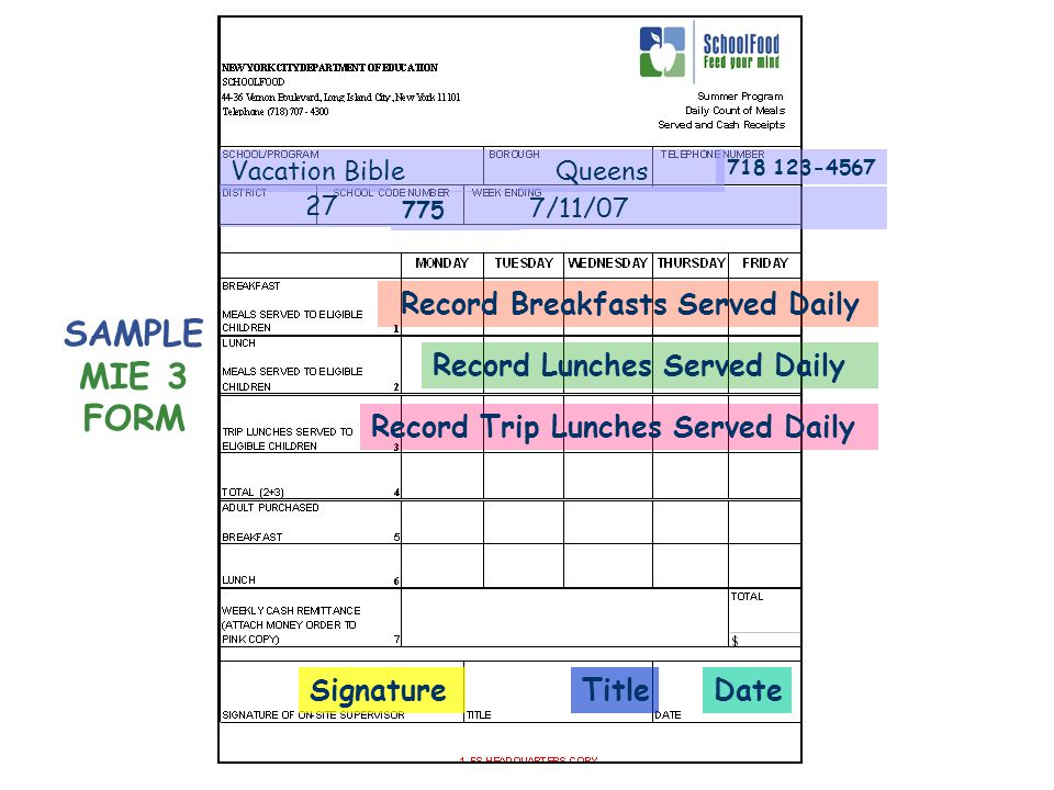 Record Breakfasts Served Daily Record Lunches Served Daily SignatureDateTitle Queens 27 Vacation Bible 7/11/07 718 123-4567 775 SAMPLE MIE 3 FORM Record Trip Lunches Served Daily