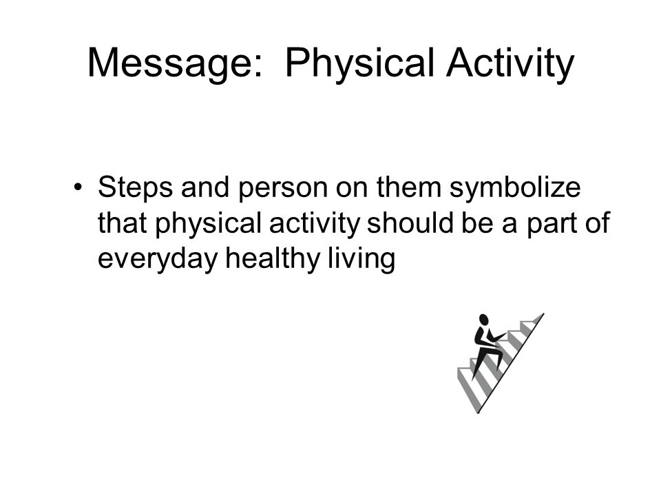 Message: Physical Activity Steps and person on them symbolize that physical activity should be a part of everyday healthy living