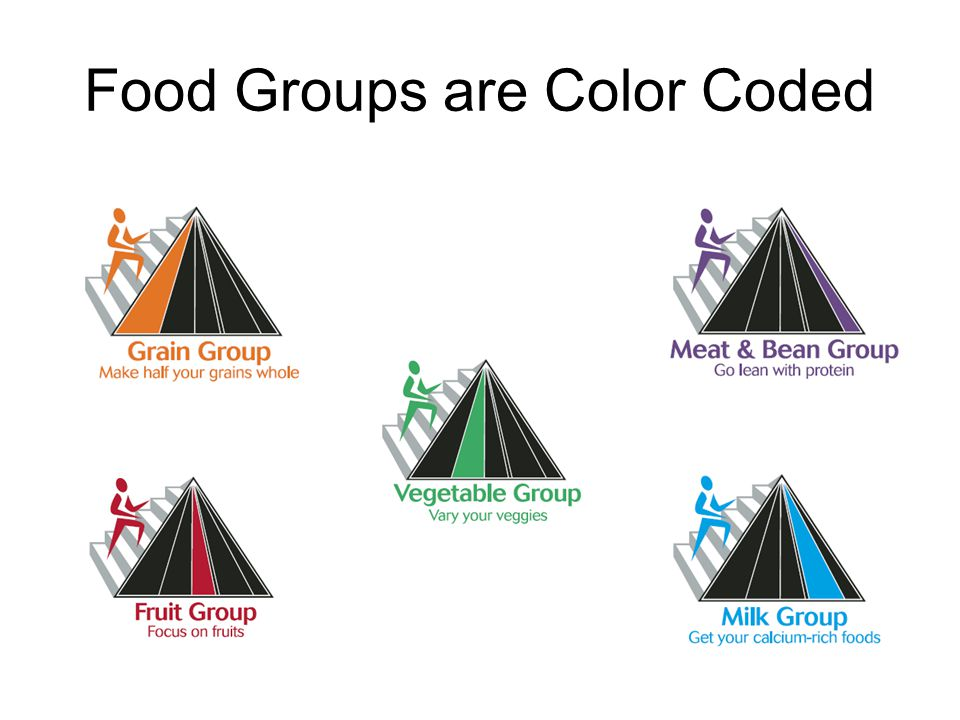 Message: Proportionality Differing widths of the color bands suggest about how much food should be eaten from each group
