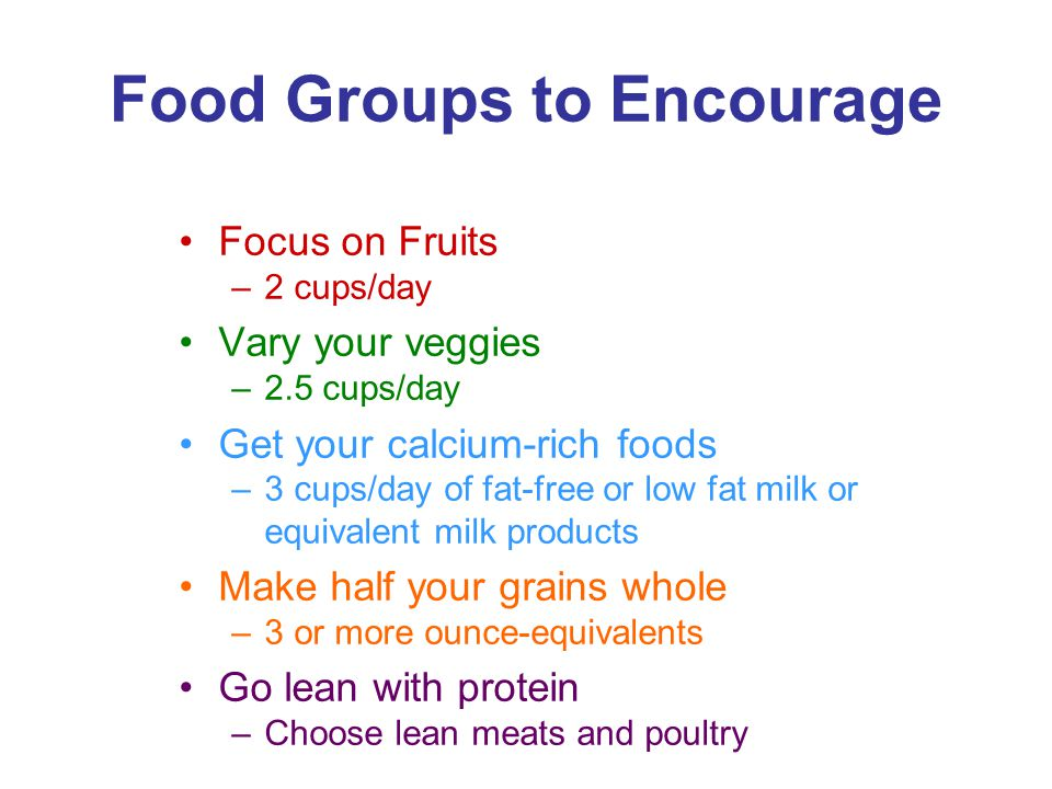 Food Groups to Encourage Focus on Fruits –2 cups/day Vary your veggies –2.5 cups/day Get your calcium-rich foods –3 cups/day of fat-free or low fat milk or equivalent milk products Make half your grains whole –3 or more ounce-equivalents Go lean with protein –Choose lean meats and poultry