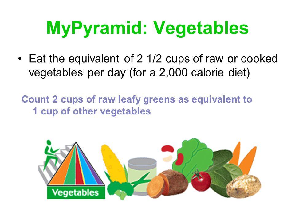 MyPyramid: Fruits Eat the equivalent of 2 cups of fresh, canned or frozen fruits per day (for a 2,000 calorie diet) Count 1/4 cup dried fruit, such as raisins, as equivalent to 1/2 cup fruit