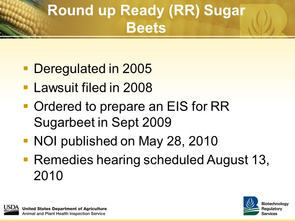 Round up Ready (RR) Sugar Beets  Deregulated in 2005  Lawsuit filed in 2008  Ordered to prepare an EIS for RR Sugarbeet in Sept 2009  NOI published on May 28, 2010  Remedies hearing scheduled August 13, 2010