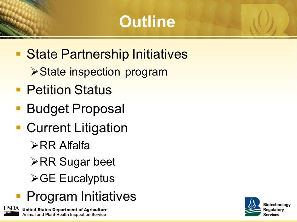 Outline  State Partnership Initiatives  State inspection program  Petition Status  Budget Proposal  Current Litigation  RR Alfalfa  RR Sugar beet  GE Eucalyptus  Program Initiatives