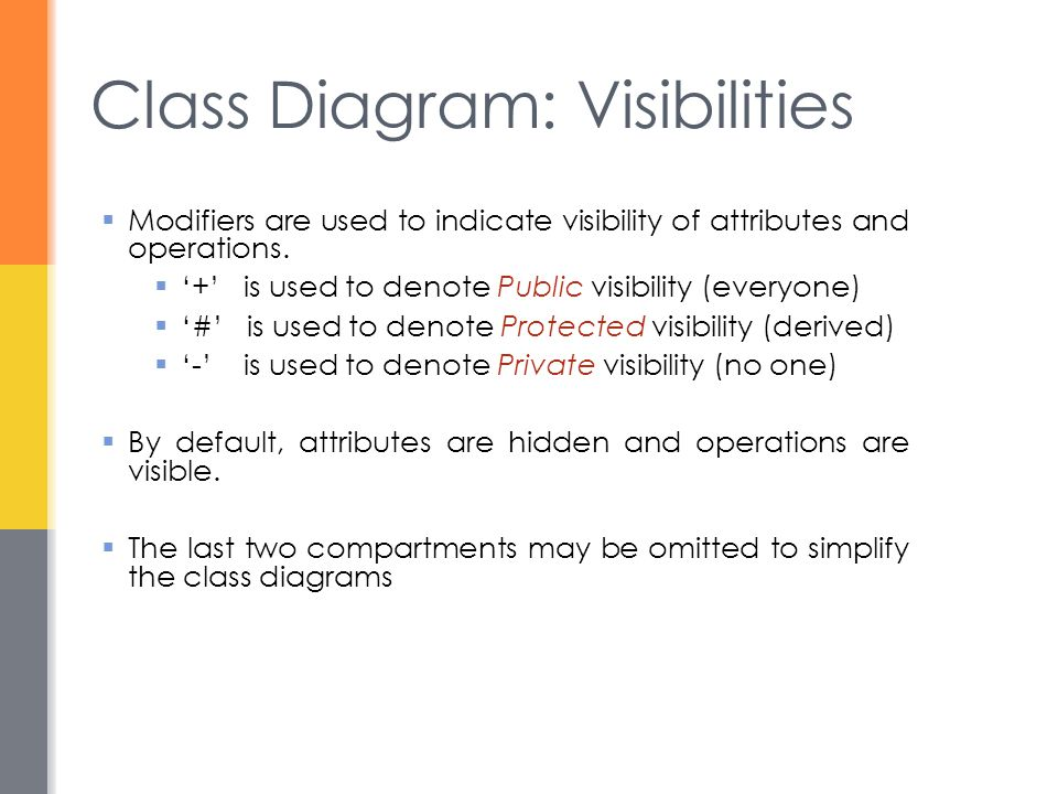 Class Diagram: Visibilities  Modifiers are used to indicate visibility of attributes and operations.  '+' is used to denote Public visibility (every