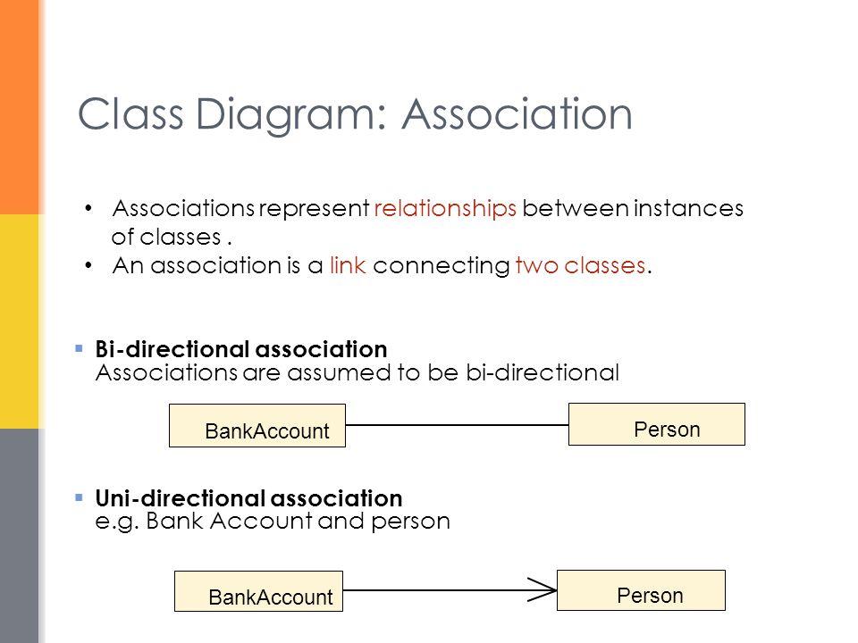 Class Diagram: Association  Bi-directional association Associations are assumed to be bi-directional  Uni-directional association e.g. Bank Account