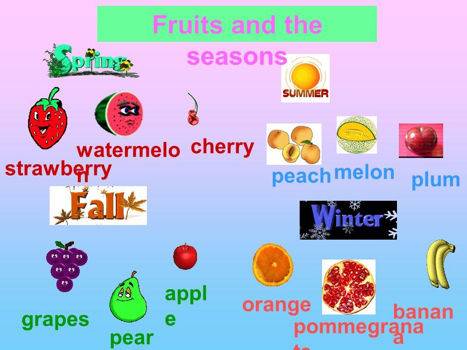 strawberry watermelo n cherry melon grapes peach pear appl e orange banan a pommegrana te Fruits and the seasons plum