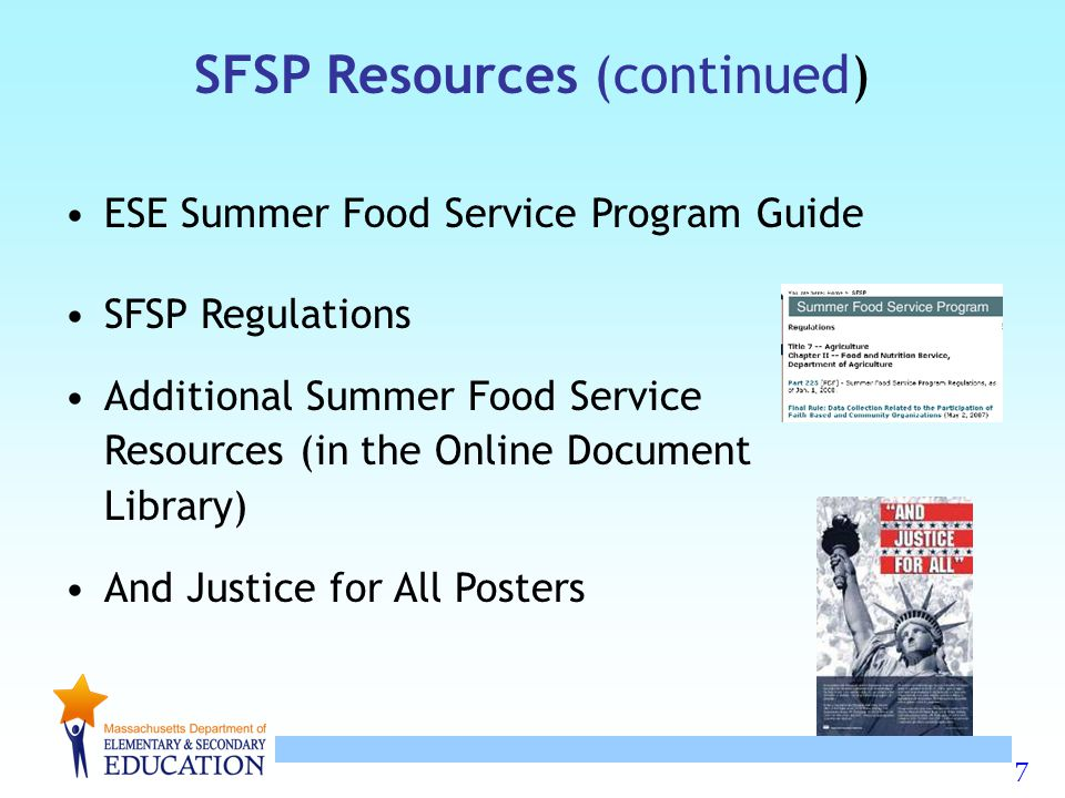 18 Residential/Nonresidential Camps Must have regularly scheduled food service as part of an organized program for enrolled children.