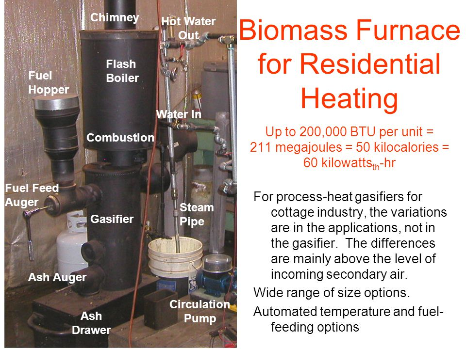 Biomass Furnace for Residential Heating Up to 200,000 BTU per unit = 211 megajoules = 50 kilocalories = 60 kilowatts th -hr Gasifier Flash Boiler Hot Water Out Fuel Hopper Fuel Feed Auger Water In Ash Auger Ash Drawer Combustion Circulation Pump Chimney Steam Pipe For process-heat gasifiers for cottage industry, the variations are in the applications, not in the gasifier.