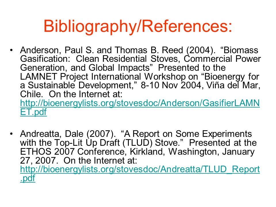 Bibliography/References: Anderson, Paul S. and Thomas B.