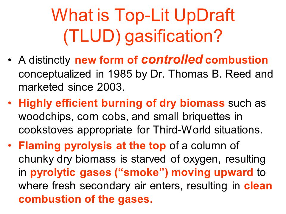 Table 1: Comparative data on emissions from TLUDs and some other cookstoves.