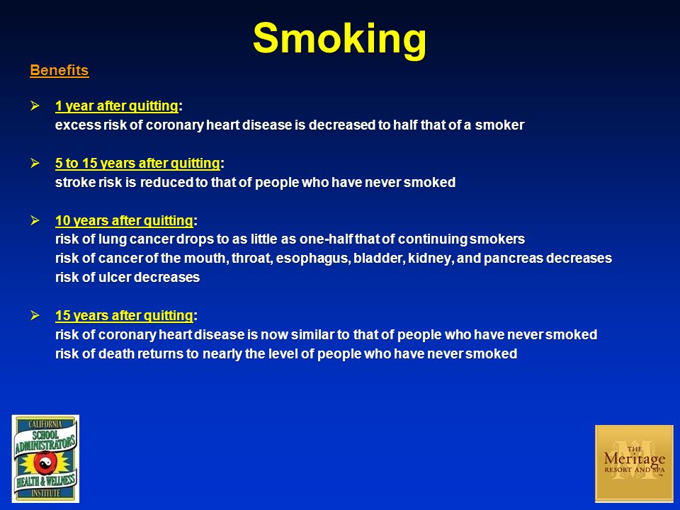 Smoking Benefits  1 year after quitting: excess risk of coronary heart disease is decreased to half that of a smoker  5 to 15 years after quitting: stroke risk is reduced to that of people who have never smoked  10 years after quitting: risk of lung cancer drops to as little as one-half that of continuing smokers risk of cancer of the mouth, throat, esophagus, bladder, kidney, and pancreas decreases risk of ulcer decreases  15 years after quitting: risk of coronary heart disease is now similar to that of people who have never smoked risk of death returns to nearly the level of people who have never smoked
