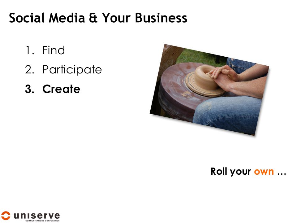 Social Media & Your Business 1.Find 2.Participate 3.Create Roll your own …