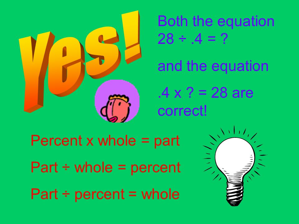 .4 x 28 is the expression for finding the part. In this case 28 is the part. 28 is 40% of what number? We are trying to find the whole!