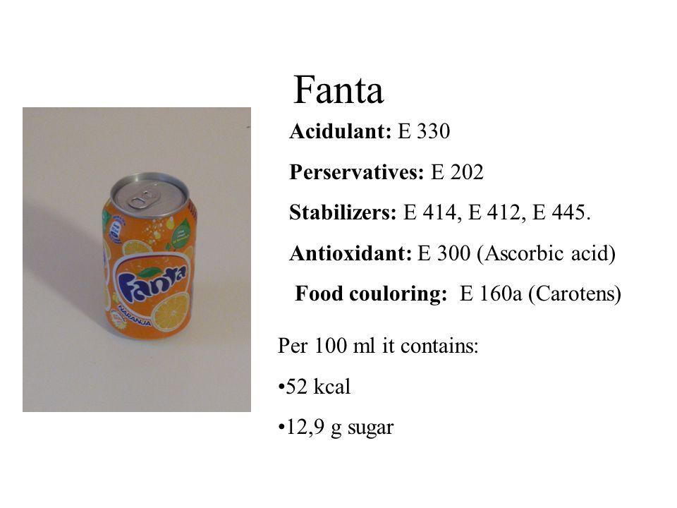 Fanta Acidulant: E 330 Perservatives: E 202 Stabilizers: E 414, E 412, E 445.