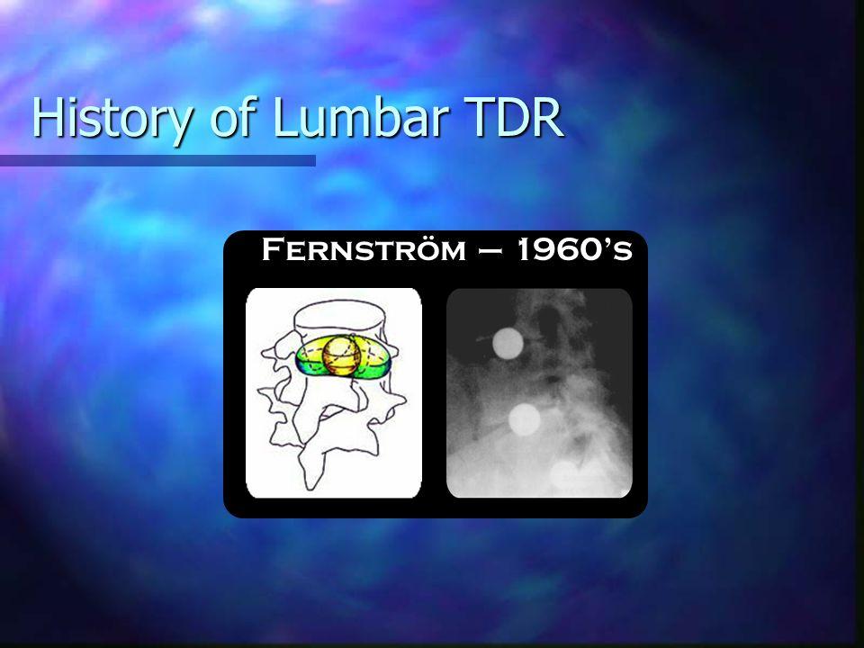 History of Lumbar TDR Synthes ™ PRODISC ® I - 1987PRODISC ® II - 1999