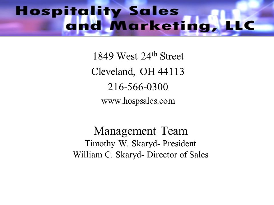 Who is Hospitality Sales & Marketing.