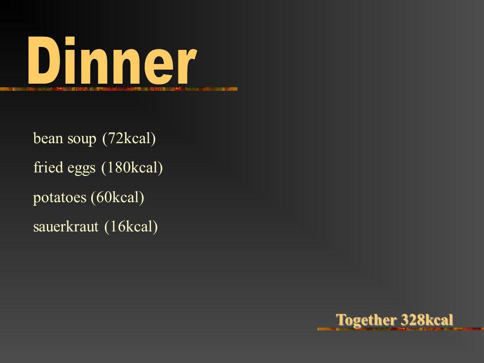 bean soup (72kcal) fried eggs (180kcal) potatoes (60kcal) sauerkraut (16kcal) Together 328kcal