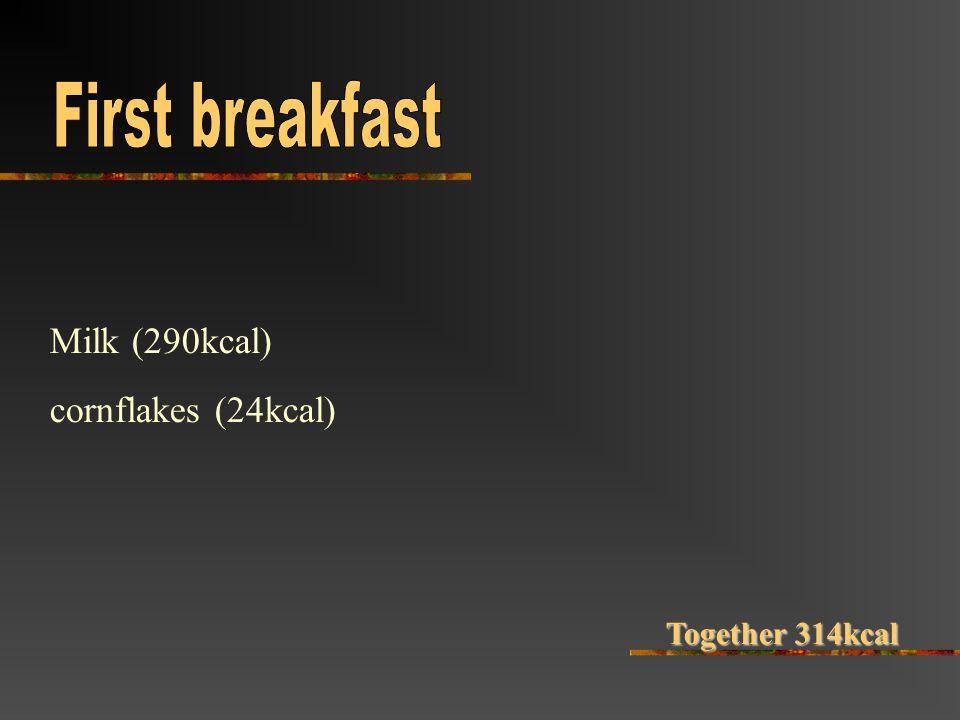 Milk (290kcal) cornflakes (24kcal) Together 314kcal