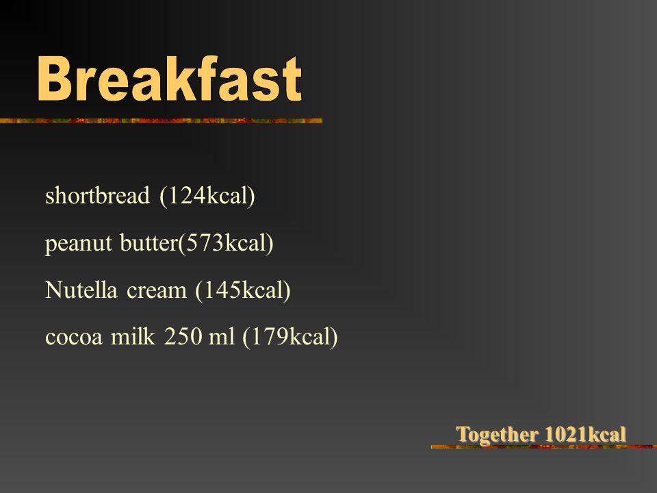 shortbread (124kcal) peanut butter(573kcal) Nutella cream (145kcal) cocoa milk 250 ml (179kcal) Together 1021kcal