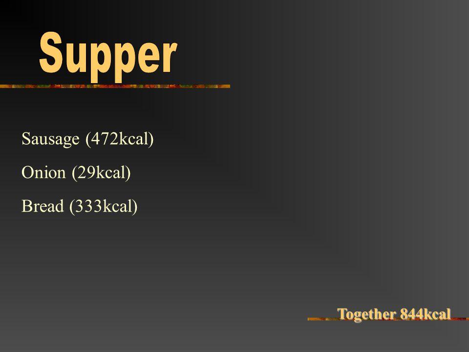 Sausage (472kcal) Onion (29kcal) Bread (333kcal) Together 844kcal