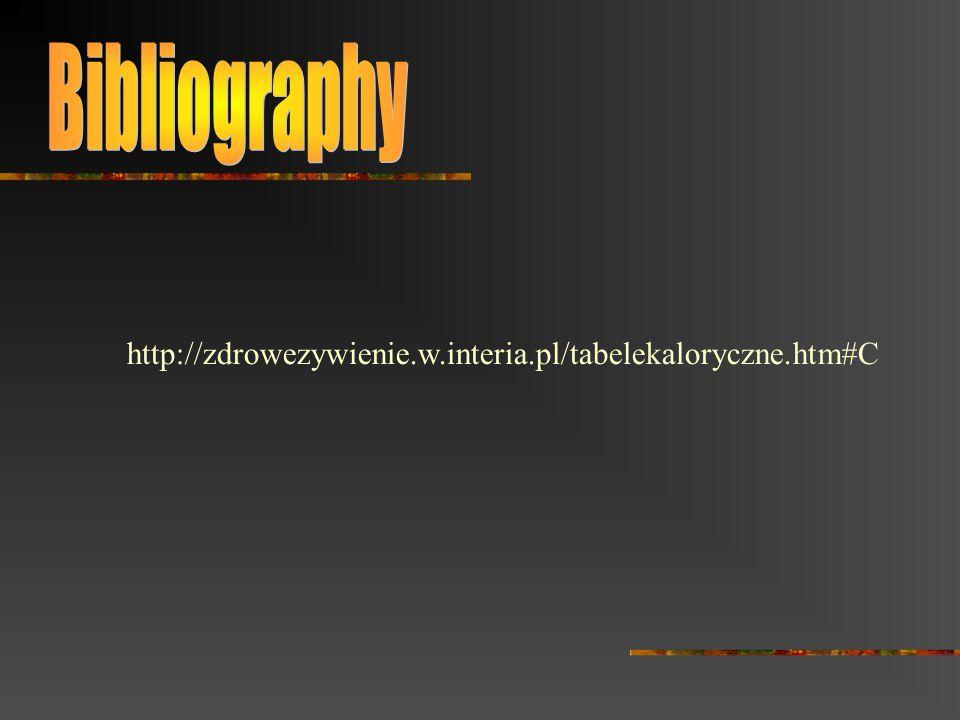 http://zdrowezywienie.w.interia.pl/tabelekaloryczne.htm#C