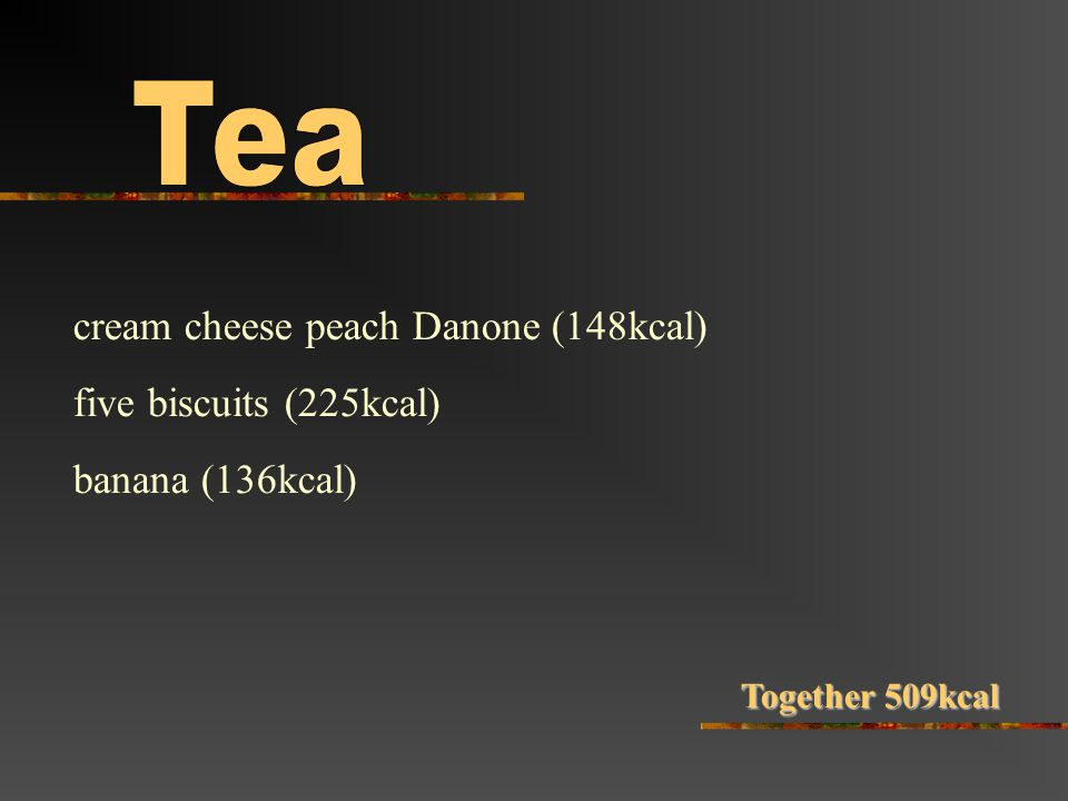 cream cheese peach Danone (148kcal) five biscuits (225kcal) banana (136kcal) Together 509kcal