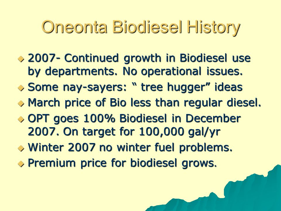 Oneonta Biodiesel History  2007- Continued growth in Biodiesel use by departments.