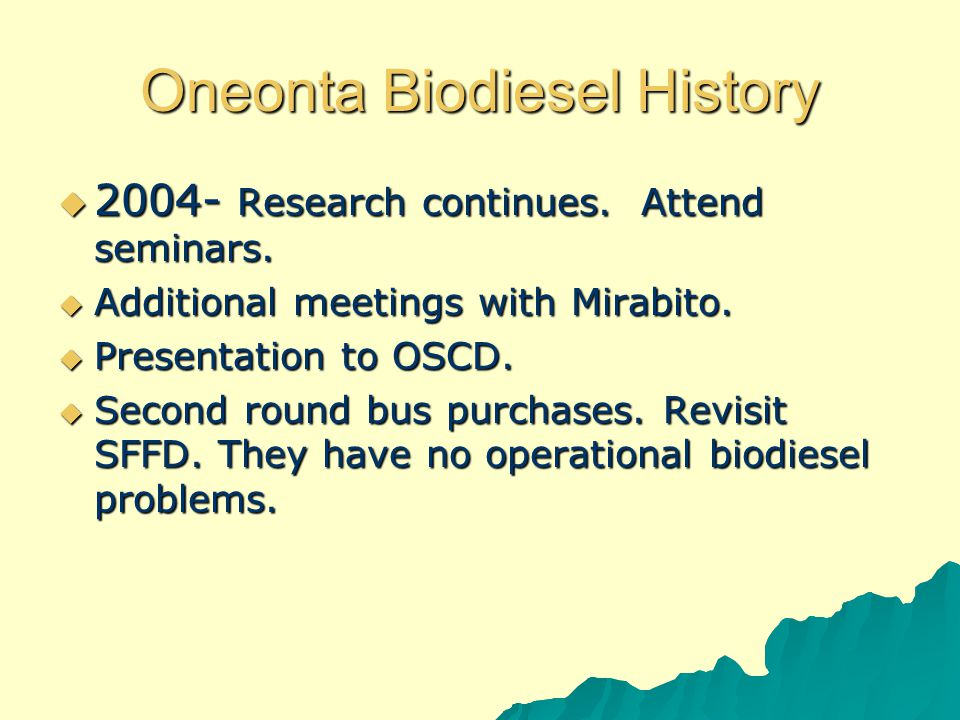 Oneonta Biodiesel History  2005 - At budget discussion, spoke of using Biofuels-operational and financial impacts.