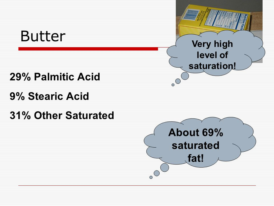 Butter 29% Palmitic Acid 9% Stearic Acid 31% Other Saturated About 69% saturated fat.