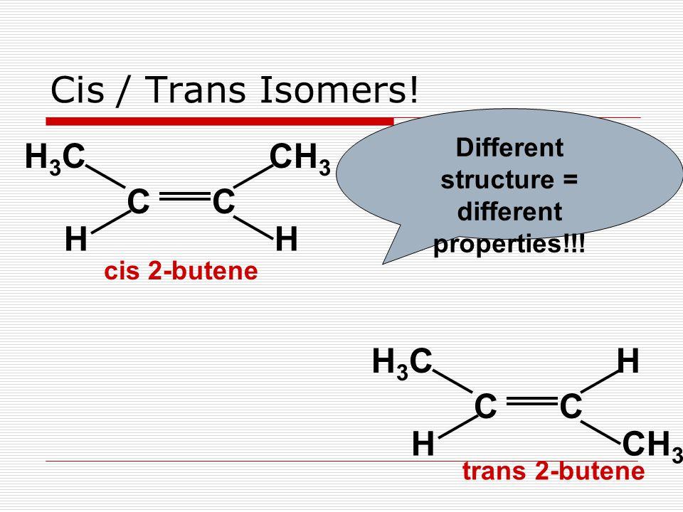 CC CH 3 H3CH3C HH CC HH3CH3C H Cis / Trans Isomers.