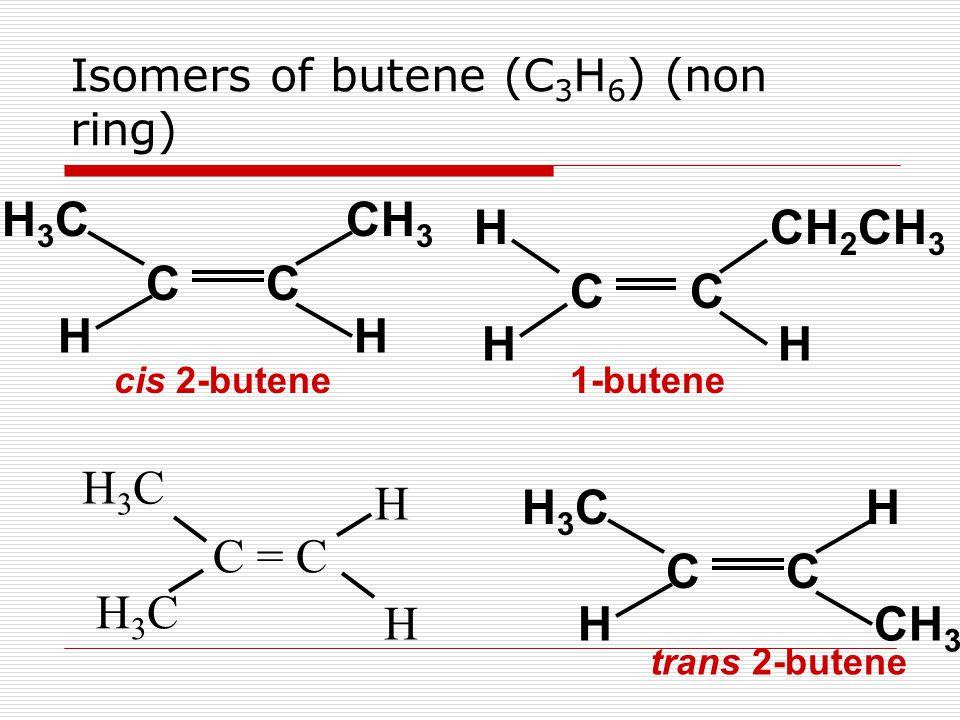 Isomers of butene (C 3 H 6 ) (non ring) CC CH 3 H3CH3C HH CC HH3CH3C H cis 2-butene trans 2-butene CC CH 2 CH 3 H HH 1-butene C = C H H3CH3C H H3CH3C