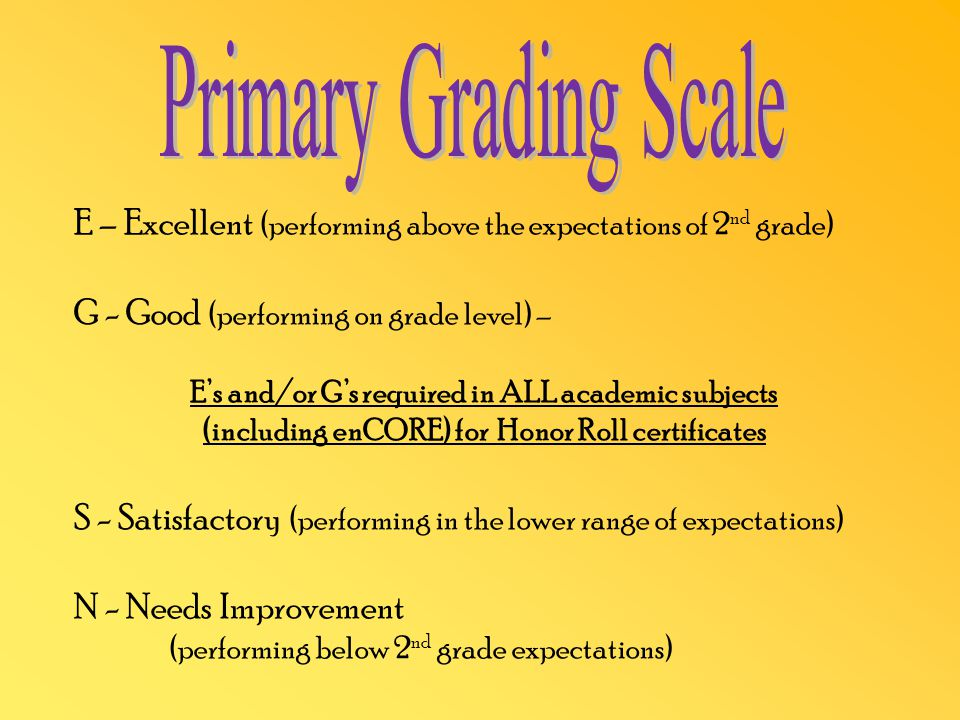 E – Excellent (performing above the expectations of 2 nd grade) G - Good (performing on grade level) – E's and/or G's required in ALL academic subjects (including enCORE) for Honor Roll certificates S - Satisfactory (performing in the lower range of expectations) N - Needs Improvement (performing below 2 nd grade expectations)