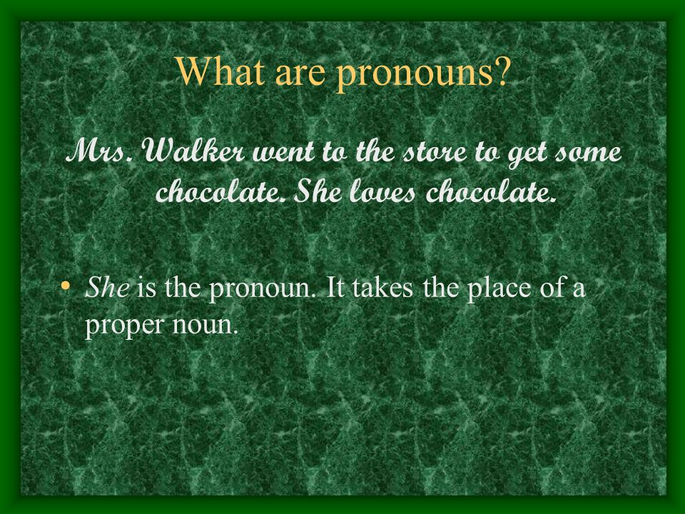 What are pronouns. Mrs. Walker went to the store to get some chocolate.
