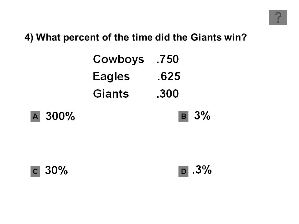 AB CD 4) What percent of the time did the Giants win