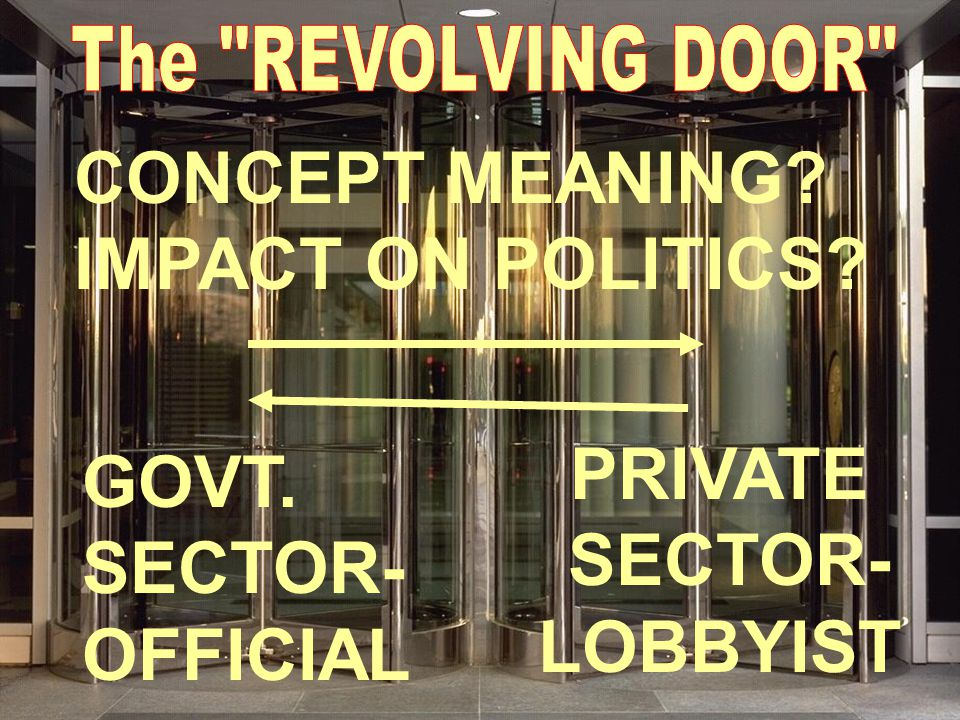 GOVT. SECTOR- OFFICIAL PRIVATE SECTOR- LOBBYIST CONCEPT MEANING IMPACT ON POLITICS