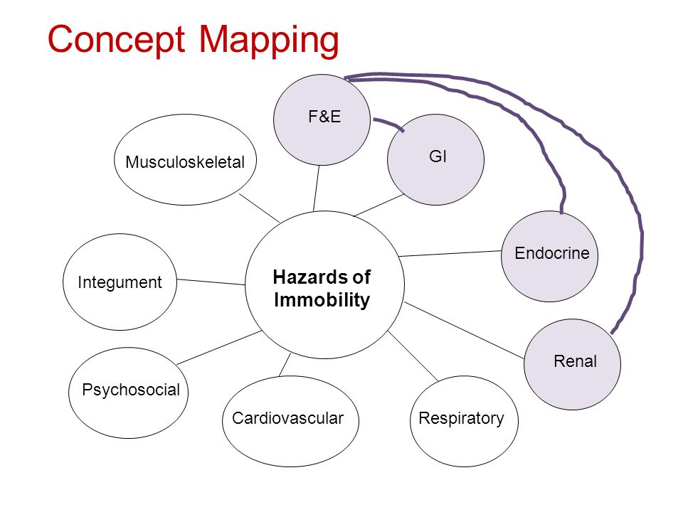 Hazards of Immobility Cardiovascular Concept Mapping Respiratory Endocrine Integument GI Musculoskeletal F&E Renal Psychosocial