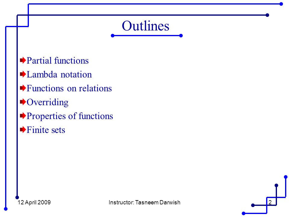12 April 2009Instructor: Tasneem Darwish13 Functions on Relations Example 8.11 The relational inverse operator may be defined by