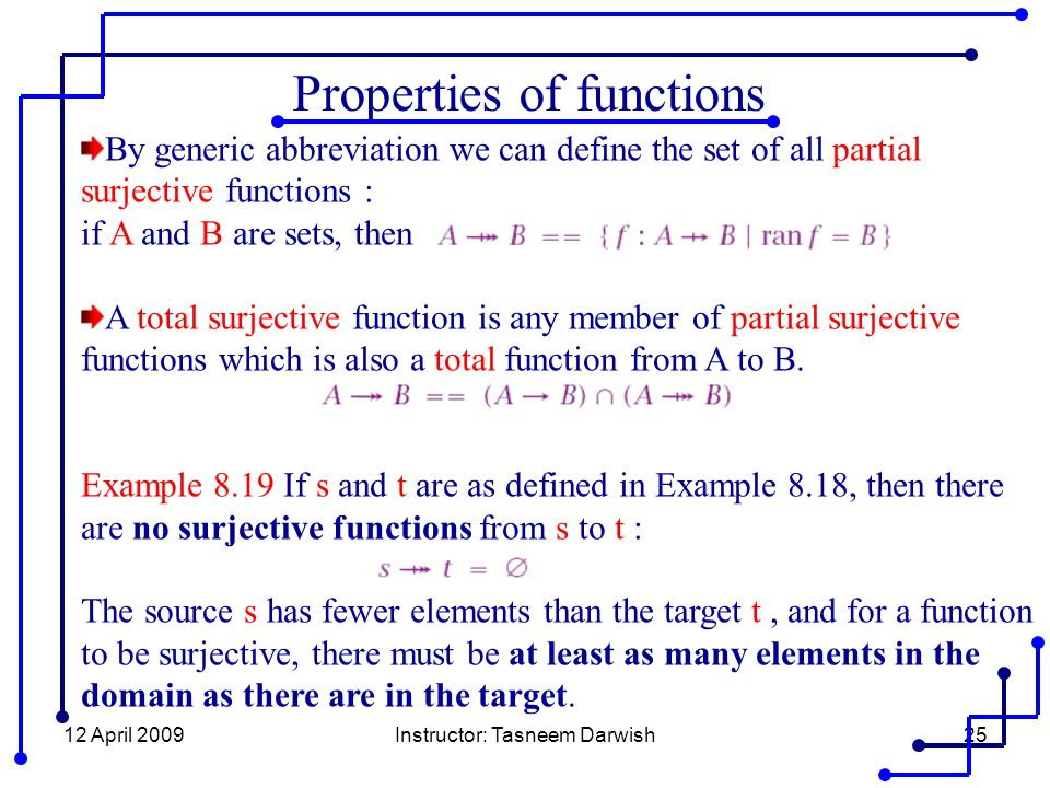 12 April 2009Instructor: Tasneem Darwish25 Properties of functions By generic abbreviation we can define the set of all partial surjective functions : if A and B are sets, then A total surjective function is any member of partial surjective functions which is also a total function from A to B.