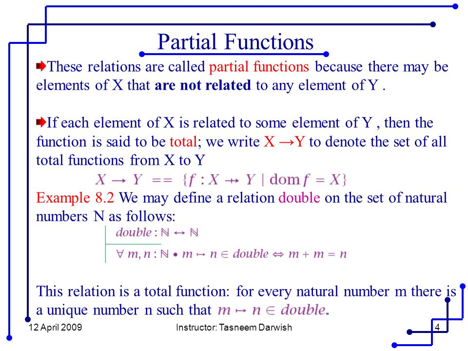 12 April 2009Instructor: Tasneem Darwish4 Partial Functions These relations are called partial functions because there may be elements of X that are not related to any element of Y.