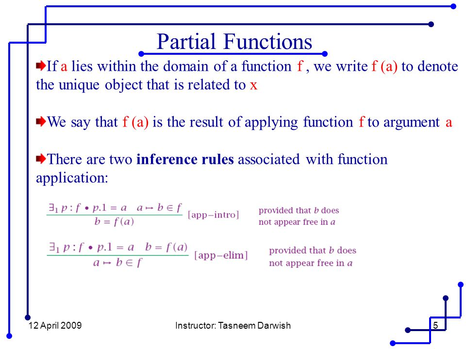 12 April 2009Instructor: Tasneem Darwish26 Properties of functions By generic abbreviation we can define the set of all partial Bijection functions : if A and B are sets, then A total Bijection function is any member of partial Bijection functions which is also a total function from A to B.