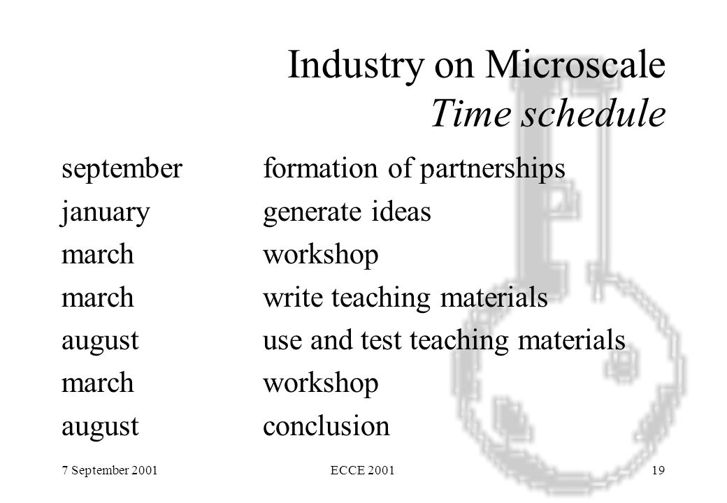 7 September 2001ECCE 200119 Industry on Microscale Time schedule septemberformation of partnerships januarygenerate ideas marchworkshop marchwrite teaching materials augustuse and test teaching materials marchworkshop augustconclusion