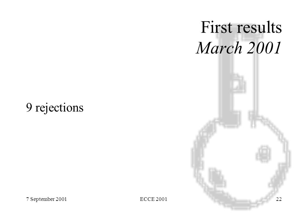 7 September 2001ECCE 200122 First results March 2001 9 rejections
